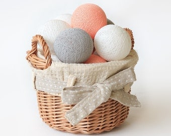 20 Loose Cotton Balls NOT INCLUDE String Lights, Fairy, Patio Party, Wedding Lights, Outdoor, Bedroom - Pastel Peach Grey White