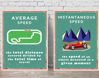 Printable Science Poster - Average and Instantaneous Speed