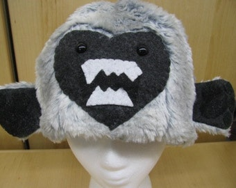 Gray Faux Fur with Yeti Face and Hands Hat with Fleece Lining
