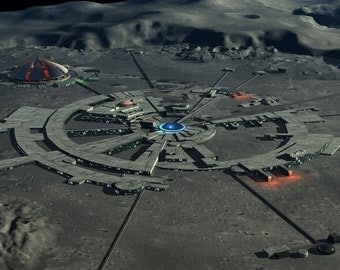 2001 A Space Odyssey  Digital Art  Glossy Print  'Clavius Moonbase'