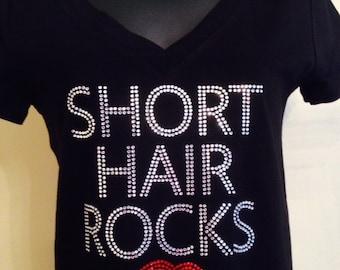 Short hair rocks Rhinestone Shirt- Salon and Spa