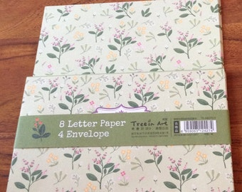 Letter writing set - green floral