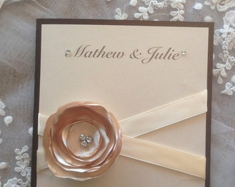 Peach and Golden brown wedding invitation
