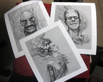 Classic Monsters Print Set