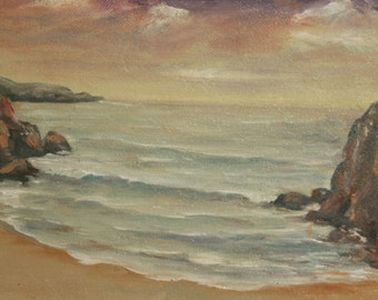 1994 Oil Painting, Seascape Landscape, Signed