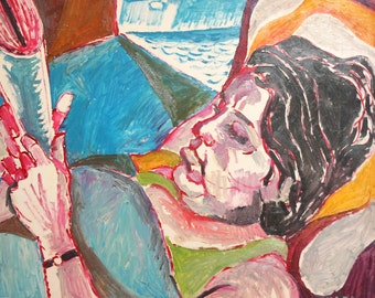 1974 Expressionist Oil Painting Woman Reading Newspaper