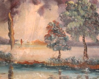 Antique Impressionist River Landscape Oil Painting