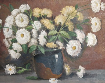 Vintage oil painting still life with daisy flowers