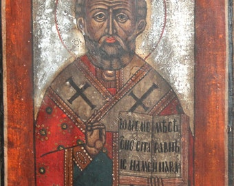 Vintage Saint Nicholas hand painted tempera/wood icon