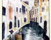 Venice Canal - Boatman - 11x14 inch watercolor - matted, unframed.