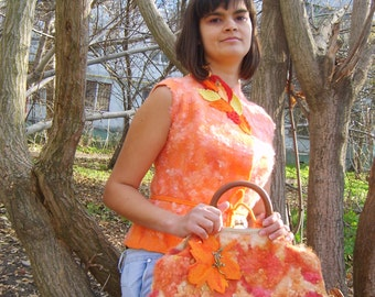 Nuno felt clothing-Felted vest-Wool clothing-Felt vest-Wool vest-ready to ship-orange melon-yellow