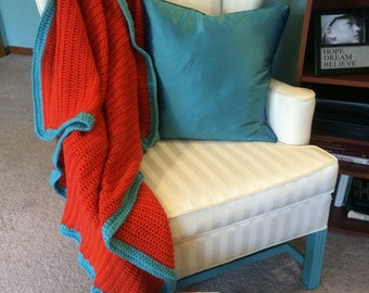 Orange Crochet Blanket with Aqua Border
