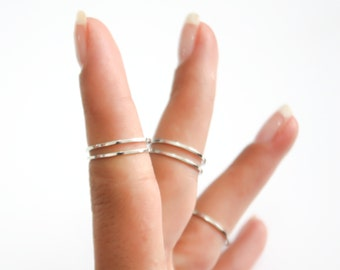Sterling Silver rings 5 Above the Knuckle Rings - Sterling silver knuckle ring set Plain Band Knuckle Rings, Silver thin shiny rings
