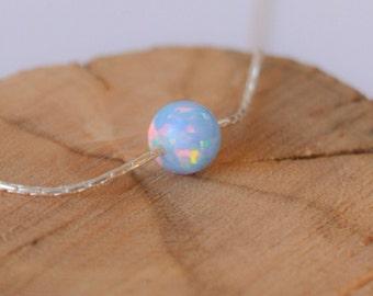 Opal necklace, opal ball necklace, opal silver necklace, opal jewelry, tiny dot necklace, opal bead necklace dot necklace blue opal necklace