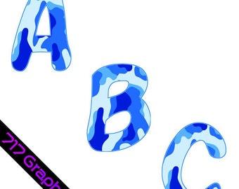 Blue Camouflage Alphabet Clipart