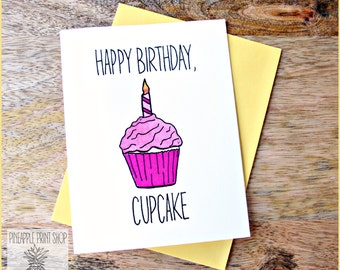 Happy Birthday Cupcake Card, Gift for Friends and Family, Funny, Clever, Quirky, Cute