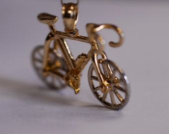 22K Yellow Gold Bicycle Pendant with Spinnng Wheels