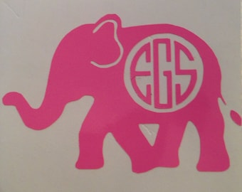 Monogrammed Elephant Decal for Laptops, Cars, Journals, and Anything You Can Think Of!