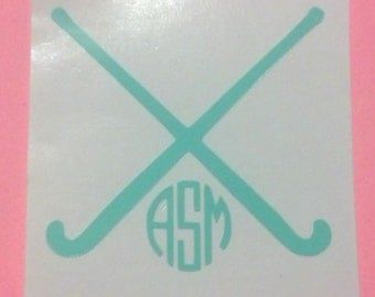 Monogrammed Field Hockey Crossed Field Hockey Sticks Decal - Sports, Sorority, College, Decals