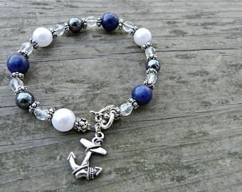 Dark Blue and Silver Nautical Bracelet