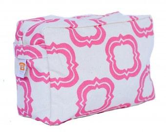 Pink Quatrefoil Cosmetic Bag