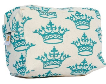 Turquoise Crown Cosmetic Bag