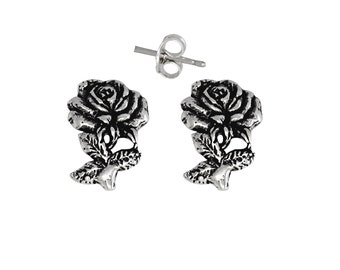 Sterling Silver .925 Rose Flower Pin Earring | Made in USA