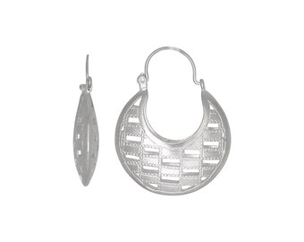 Sterling Silver .925 Checkers Style Design Basket Earring (M) | Made in USA