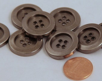 """Lot of 8 Shiny Dark Silver Tone Sew-through Metal Buttons 7/8"""" 23mm (#6010)"""