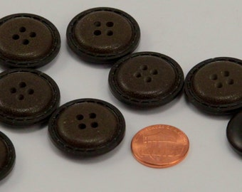 """Lot of 8 Large Brown Plastic Coat Buttons Sew-through 1"""" 25mm # 6490"""