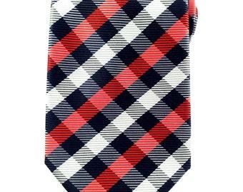 Red Black and White Checkered 8.5cm Necktie.Formal Tie.Casual Tie.Handmade Tie. Formal Tie. Business tie.