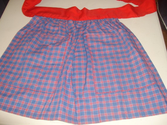 Child Half Apron Blue& Red (striped fabric)   Treat Bag?