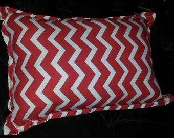 Handmade Red and White Chevron Throw Pillow