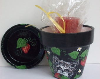 Hand Painted Flower Pot, Small Planter and Saucer, Critter in Strawberries and Red Candle, Candle Holder,, Gift Set