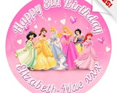 """Disney Princess Cake Topper 7.5"""" Inch PERSONALISED Edible on Icing Sheet with HIGH RESOLUTION Background Image"""