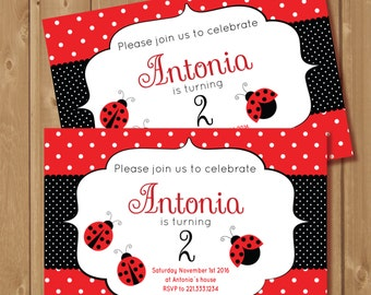 Ladybug birthday invite. Printable. It is a cute  digital invite. Perfect for your little girls birthday party!