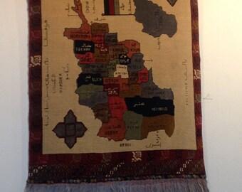 Vintage Afghan Map Rug