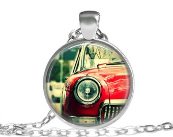 1950's Vintage Car Image Necklace, Red Car Necklace, Oldies But Goodies Necklace, Red Vintage Car, Gifts For Him, Gifts For Her, necklace