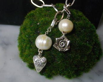 Charms Heart Rose Pearl Keshi Biwa Chain necklace 925 pendant