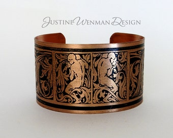 Copper Cuff Etched w/ Gardeners Motif, Art Nouveau, Male Figures, Watering Jar, Woman's Bracelet
