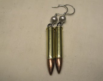Bullet Dangle Earrings with Pearl Crystal Platinum Swarovski Elements Beads