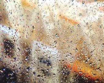 Window Photography - Peeking Through Rainy Window Photo, 24x36 20x30 16x20 8x10 5x7 fine art wall decor, wall art rain photo