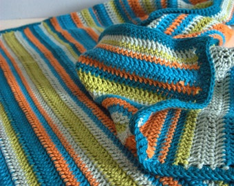 Crochet cotton Day At The Beach baby or lap blanket