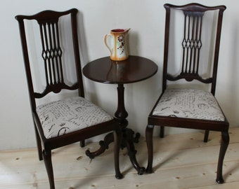 pair of vintage antique edwardian mahogany chairs