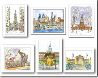 Philadelphia Favorites.  Box of 8 blank note cards.  4.25x5.5. Your choice.  Customized message.