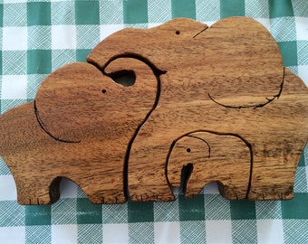 Wooden Elephant puzzle made from Oak