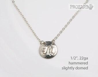 Hammered Initial necklace,textured monogram necklace,initial necklace,domed monogram,domed initial,birthday gift,bridesmaid gift,wedding
