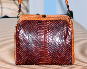 Vintage 1960s Snake Skin Purse Handbag