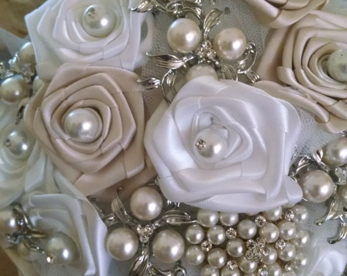 "Ivory and White Brooch Bridal Bouquet filled with Pearl Brooches and ""Something Blue"""