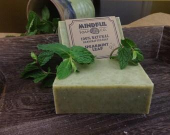 Handmade Mint Soap, Spearmint Soap, Spearmint and Eucalyptus Soap